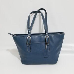Coach 9847 Blue Leather Zipper Tote